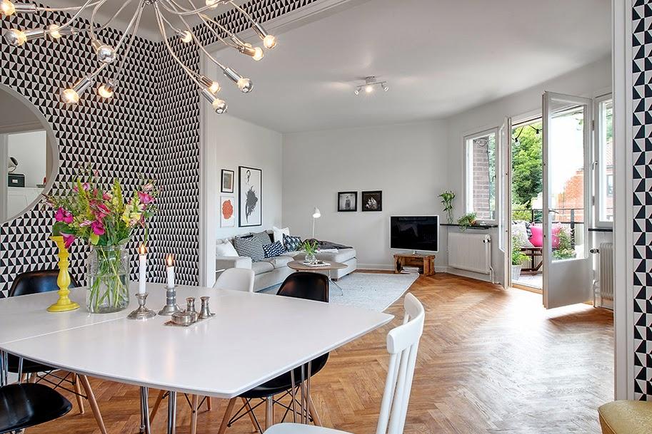 La ventana redonda decoratualma for Papel pared comedor