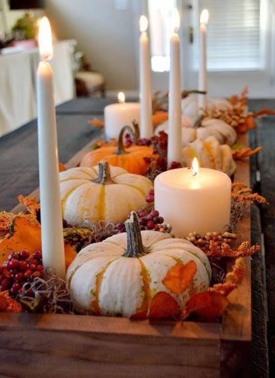 Diy centro floral hecho con calabazas y velas