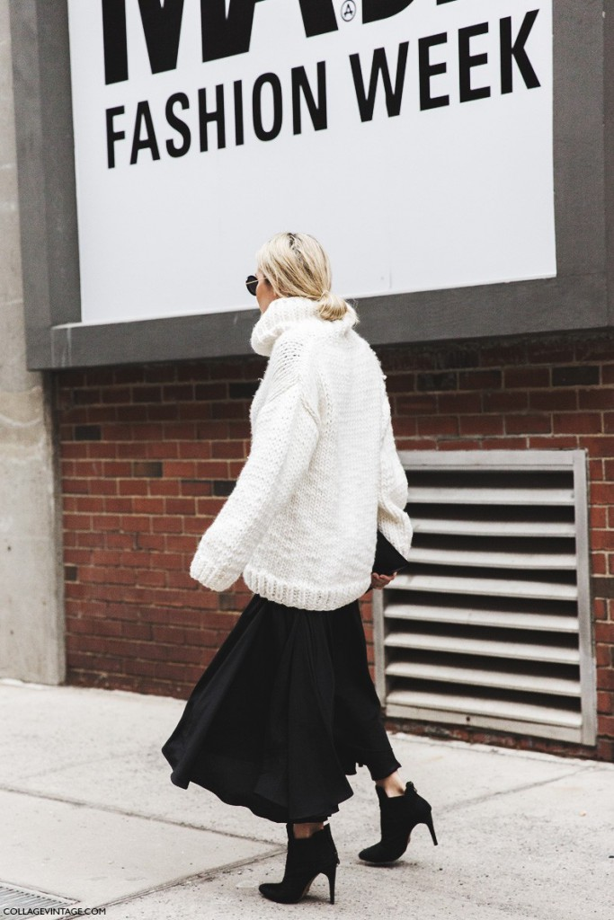 New_York_Fashion_Week-Fall_Winter_2015-Street_Style-NYFW-Skirt_And_Trousers-Oversize_Sweater-Turtle_Neck-Black_And_White_Outfit-1-790x1185