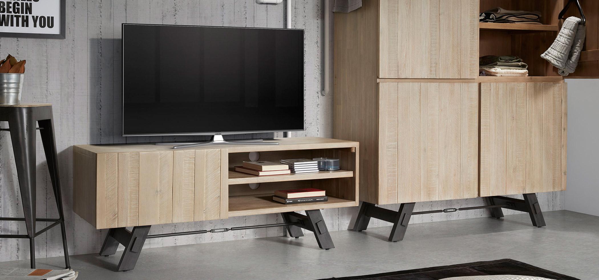 Mueble de televisión madera estilo industrial regalo dia del padre decoratualma