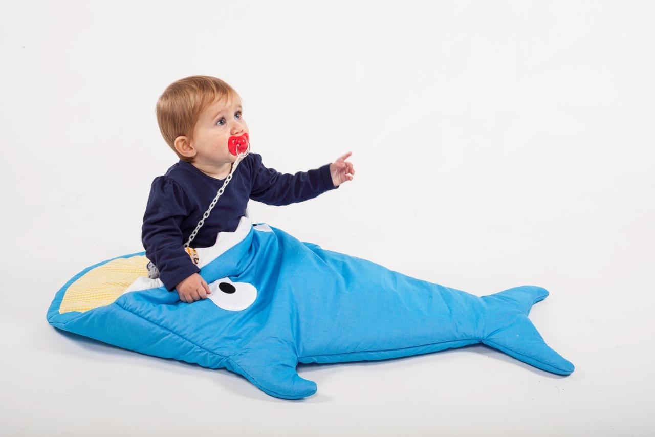 saco,bebés,tiburón,babybites,azul,