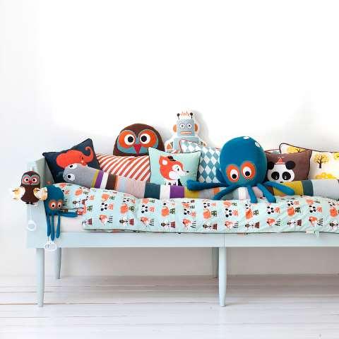 cama,ropa de cama,ferm LIVING,peluches,pulpo,cojines,buhos,jugar,niño,niña,niños,niñas