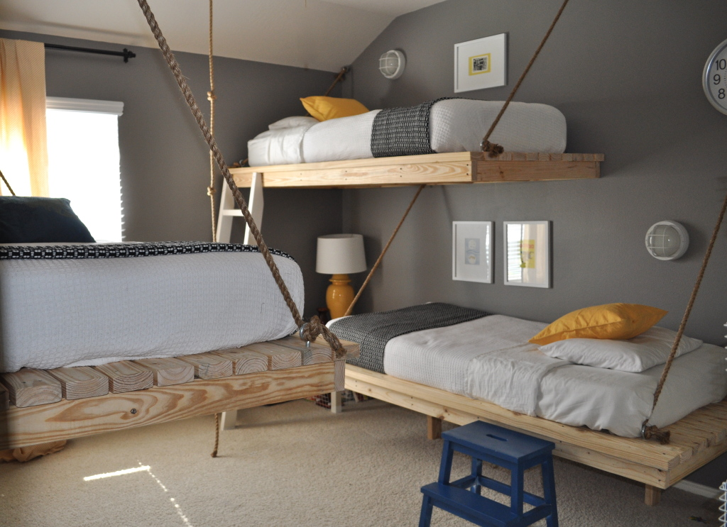 interior-ideas-extraordinary-floating-bed-frames-by-natural-wooden-bunk-bed-with-unique-design-also-white-bedsheet-combined-iwth-gray-wall-color-captivating-floating-bed-frames-for-your-bedro