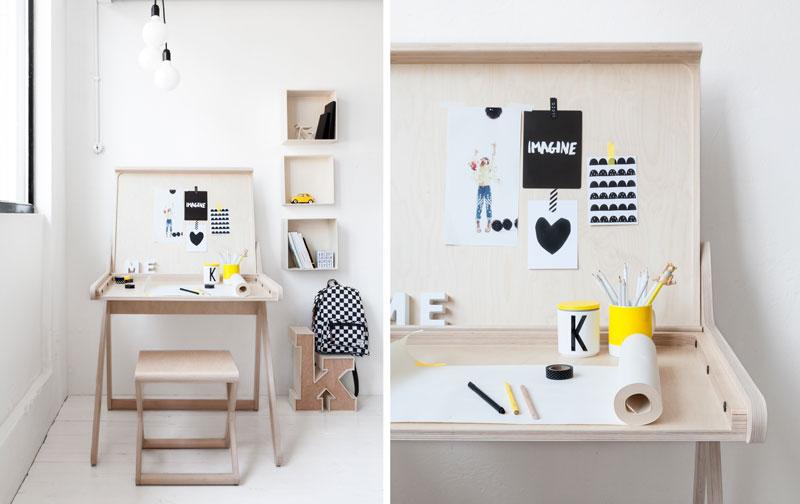 Escritorio infantil de diseño, pupitre para estudiar y trabajar. Dormitorio infantil, niños. Mobiliario, decoratualma DTA