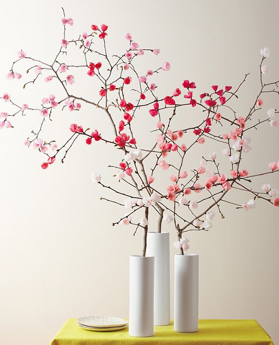 Jarron con centro florar de flores de papel de seda decoratualma dta manualidades diy primavera