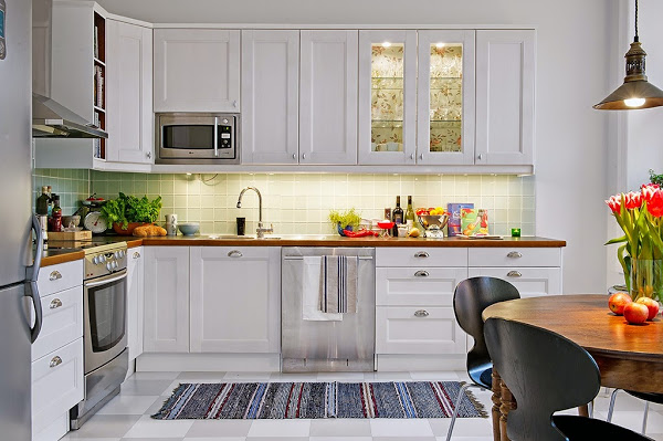 cocina, nórdica,verde,blanco,alfombra