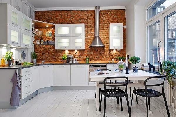nórdico,cocina,blanca,ladrillo,mesa
