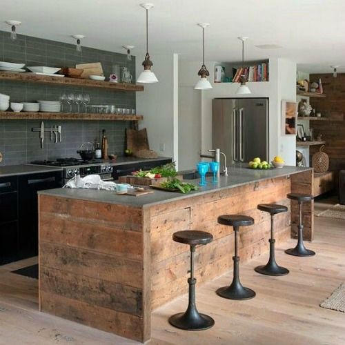 cocina, industrial, taburetes,madera, gris
