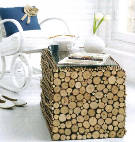mesa,madera,ramas,troncos pequeños