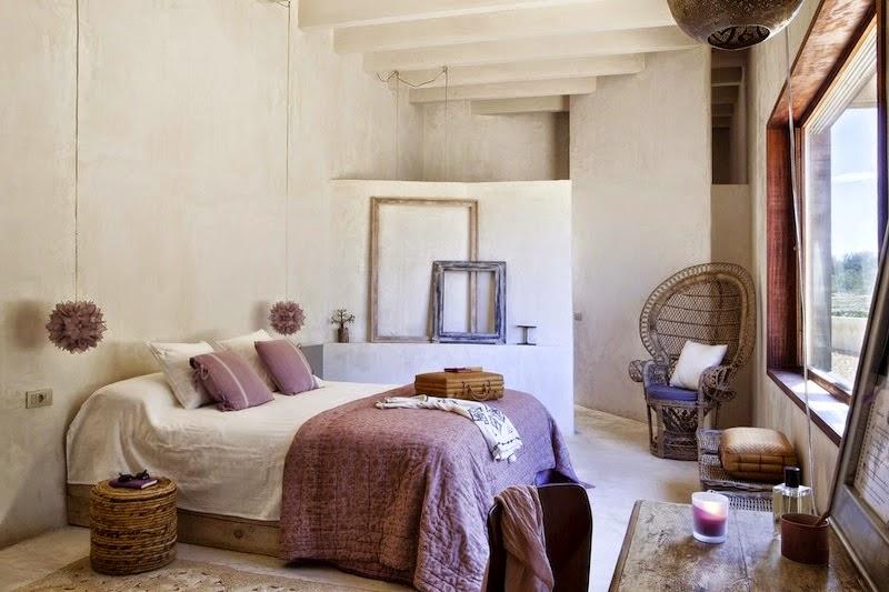 dormitorio,habitación,blanco,morado,crudo,cama,espejo,