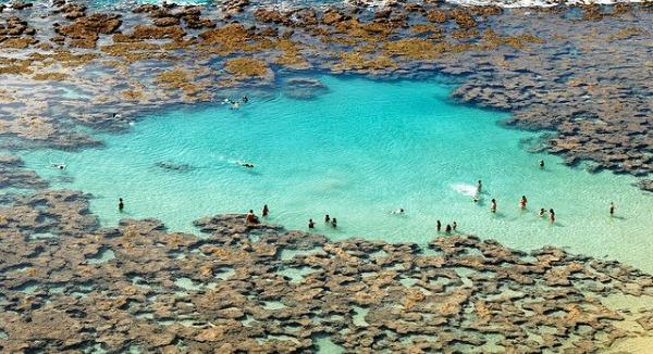 laguna, agua azul, roca
