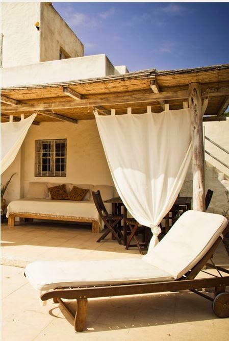 porche,casa,tumbonas,cama,madera,textil