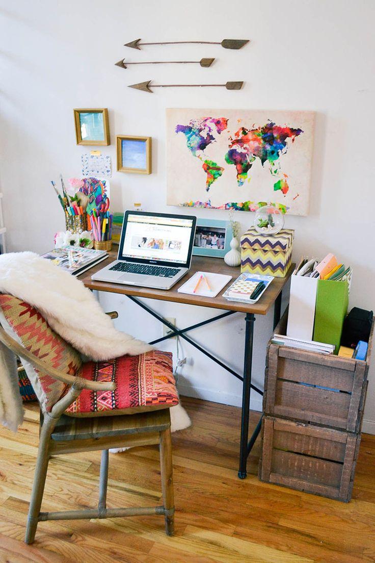 Espacio de trabajo boho con textil decoratualma dta