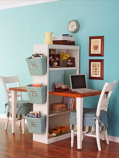 espacio de trabajo compartido con estanteria divisor decoratualma dta