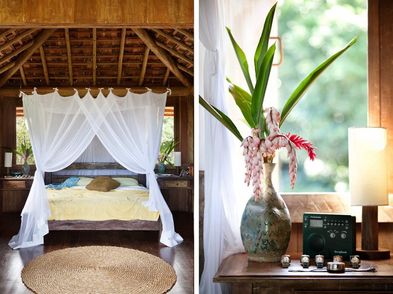 cama,matrimonio,velo,jarrón,planta