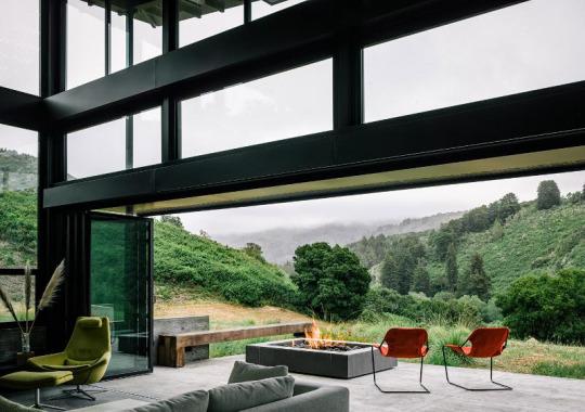 salón,vistas,chimenea,sillas,naturaleza,verde,árboles