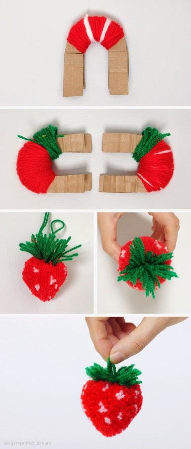 Fresas pompon lana decoratualma dit