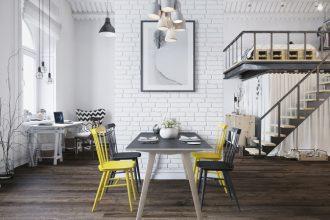 2 Comedor de un loft en praga decoratualma sillas y mesa HAY