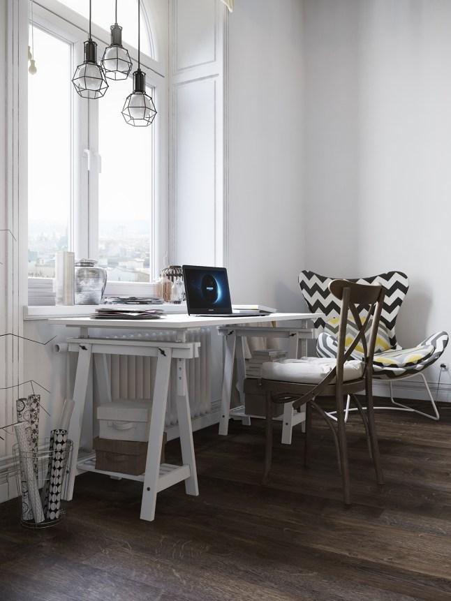 6 espacio de trabajo en pisos pequeños reducido