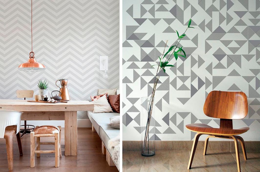 Papel pintado motivos geometricos free papel pintado - Papeles de pared modernos ...