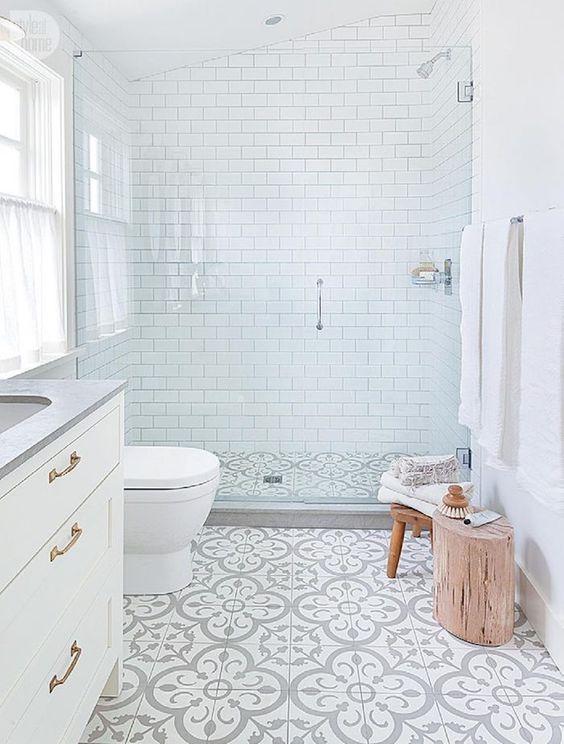 Baño clasico con plato de ducha continuo